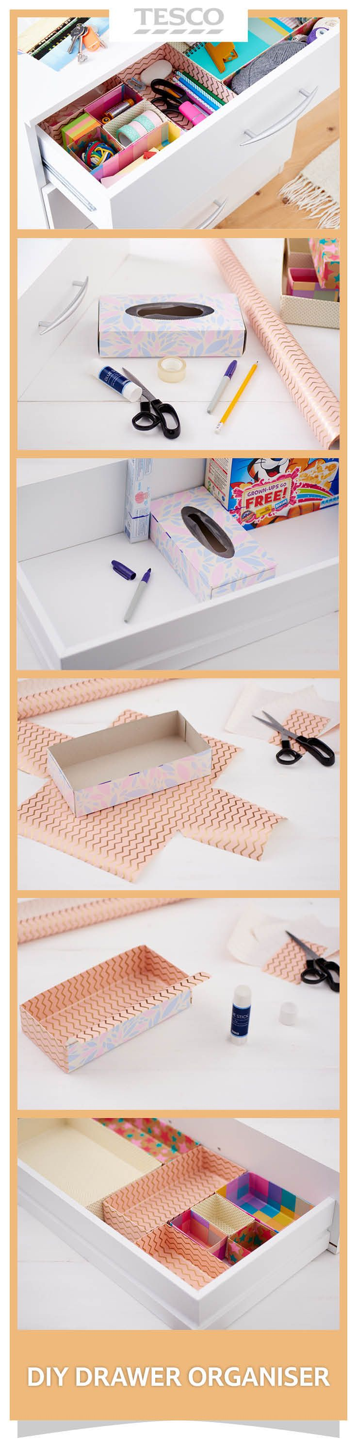 The secret to de-cluttered, organised drawers? Use cardboard dividers! Take cereal boxes and other cardboard packaging and turn them into neat dividers for tidy drawers and cupboards. | Tesco Living