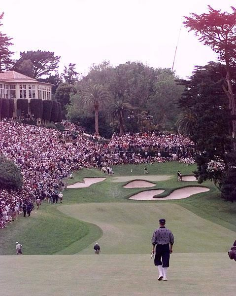 History of U.S. Open at The Olympic Club/ S.I GOLF Payne Stewart walking up the 18th