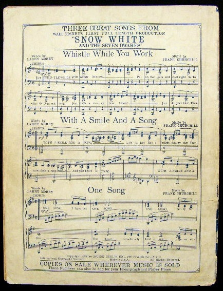 """Would love to frame this! DISNEY SNOW WHITE SEVEN DWARFS MUSIC SHEET """"SOMEDAY MY PRINCE WILL COME"""" 1937 