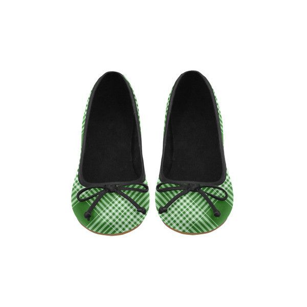 Green White Plaid Juno Ballet Pumps (Model 312) ($54) ❤ liked on Polyvore featuring shoes, pumps, ballerina pumps, white ballet pumps, white shoes, white court shoes and ballerina shoes