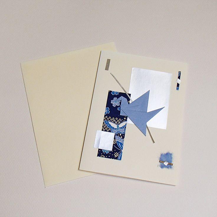 Carte de vœux grue en origami bleue et collage : Cartes par orijuju-shop
