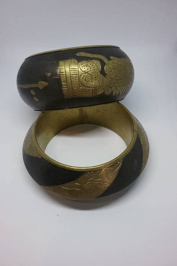 Brass and Black Egyptian Bangles Brass Egyptian Style Cuffs