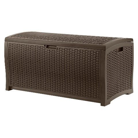 Suncast 73-Gallon Wicker Resin Deck Box for $44 This wicker deck box is the perfect solution for your outside storage needs. Great for storing items such as toys, garden tools, and furniture cushio…