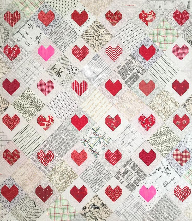 """Pattern by Mimi Dietrich (altered to be on point).  Kamie Hone (@kamiehone) on Instagram: """"Low volume hearts"""