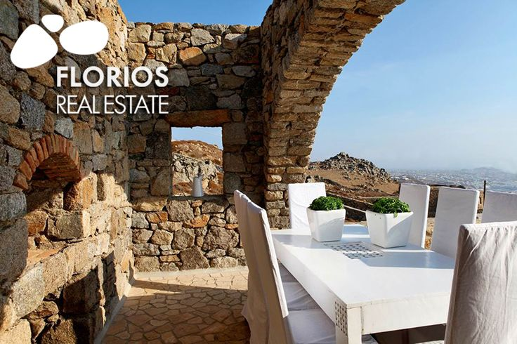 Out wards there is a sizable pergola, constructed couches, built in sofas and a dining area offering stunning panoramic view! FL1026 Two Villas for Sale on Mykonos island Greece. FL1026 http://www.florios.gr/en/mykonos-property/17.html