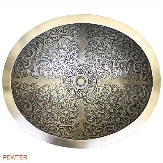 Linkasink Bathroom Sinks - Bronze - B018-P Brocade Oval Bowl - Polished White Bronze - Wave Plumbing