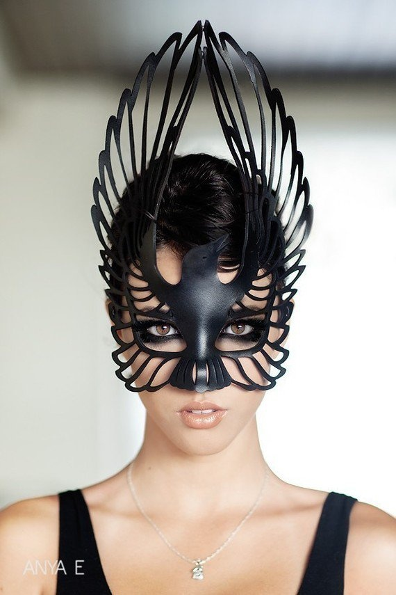 Raven leather mask in black by TomBanwell on Etsy