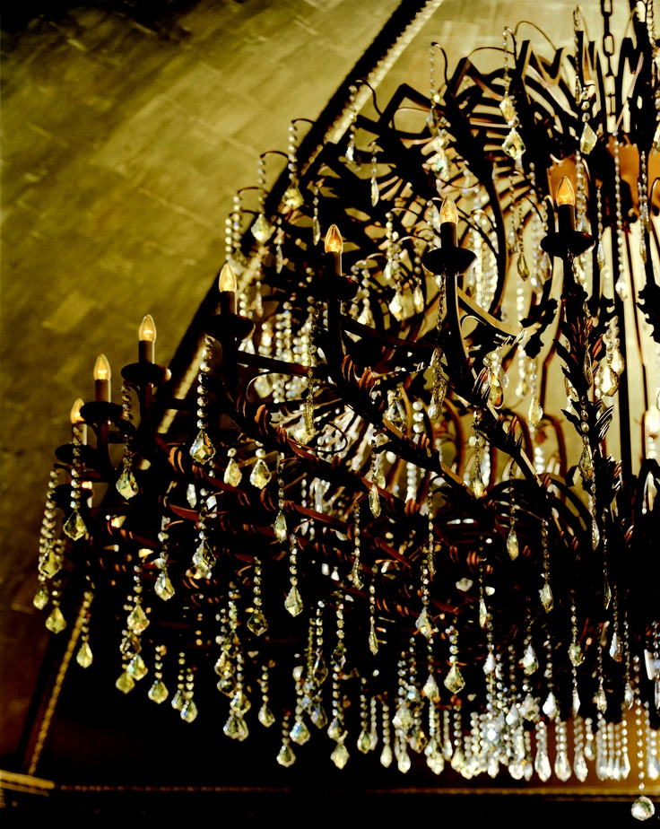 The lobby chandelier at The Langham