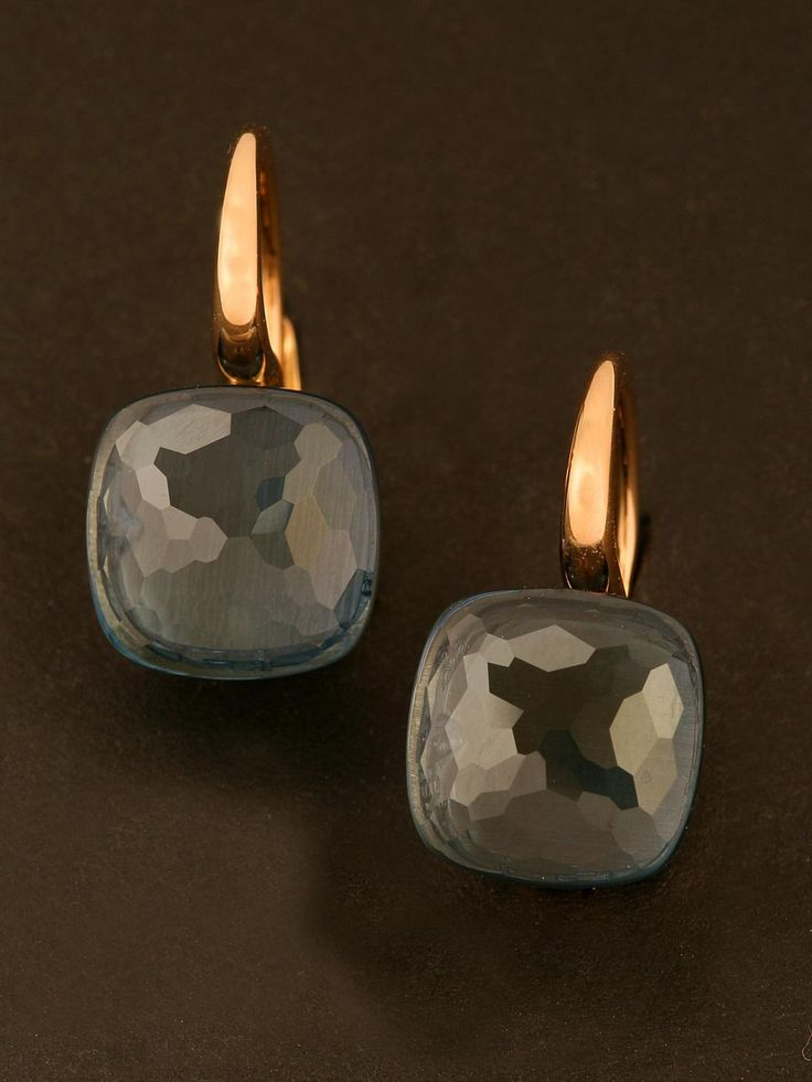 Pomellato 18KT Rose Gold Nudo London Blue Topaz Drop Earrings. Available at London Jewelers.