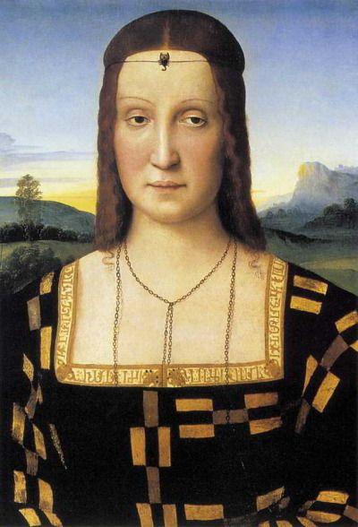 Raffaello Santi, Elisabetta Gonzaga, 1504 - 1505, olio su tavola , originariamente Palazzo ducale di Urbino, ora Galleria degli Uffizi (Firenze).