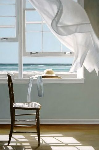 """Sea breeze: Karen Hollingsworth  """"Discreet""""  Oil on canvas, 24 x 72 inches"""