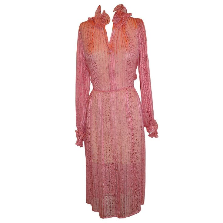 Saks Fifth Avenue Silk with Silk chiffon Stripe Ruffle Dress | 1stdibs.com