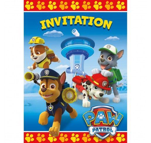 patpatrouille invitations 8pqt