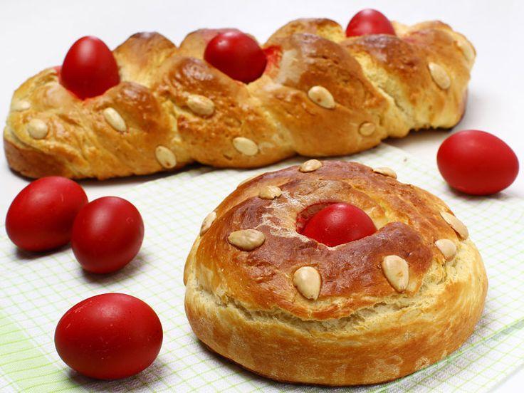 Greek Easter tsoureki and red eggs, photo by across/Shutterstock.com