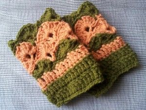 coral and green shell wrist warmers