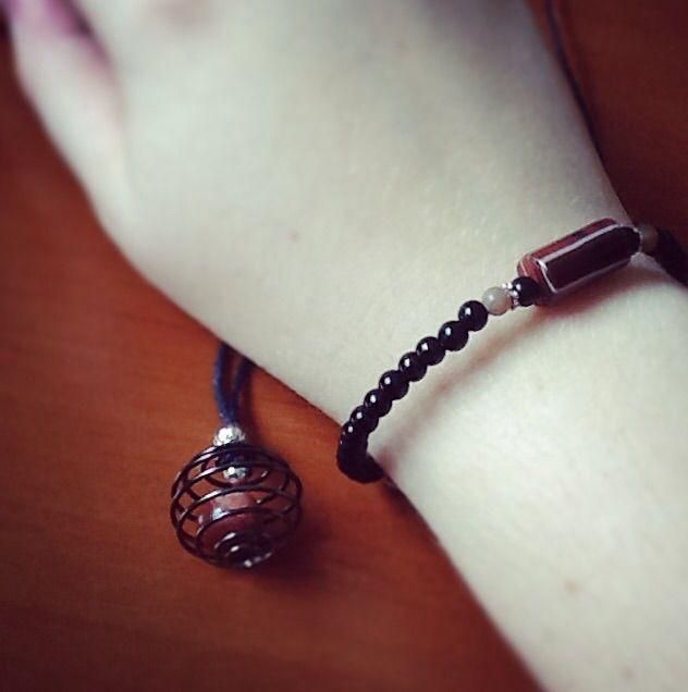 Natural gemstone bracelet and necklace.