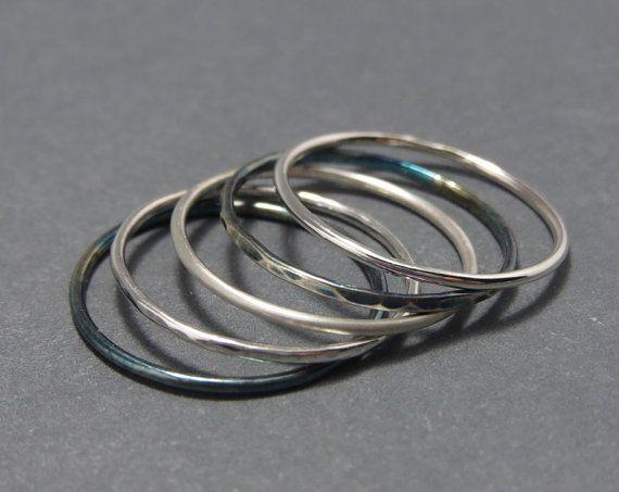 1 Single Plain Slim Stackable Ring .925 18g by LittleSomethingsAnn