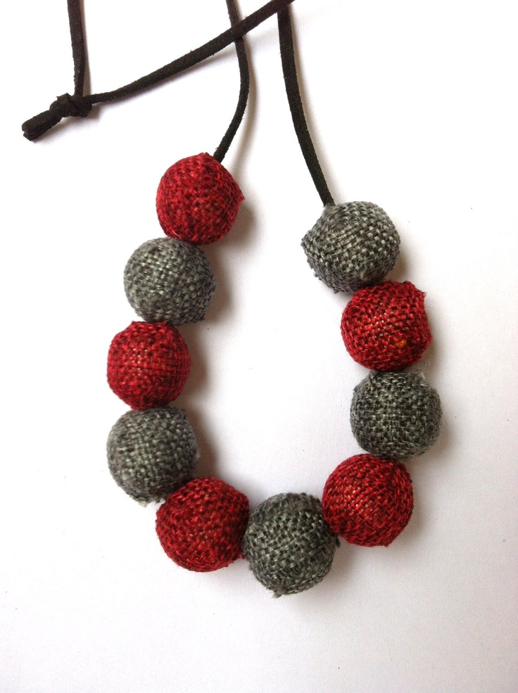 Necklace with grey and red beads (made to order). $20.00, via Etsy.