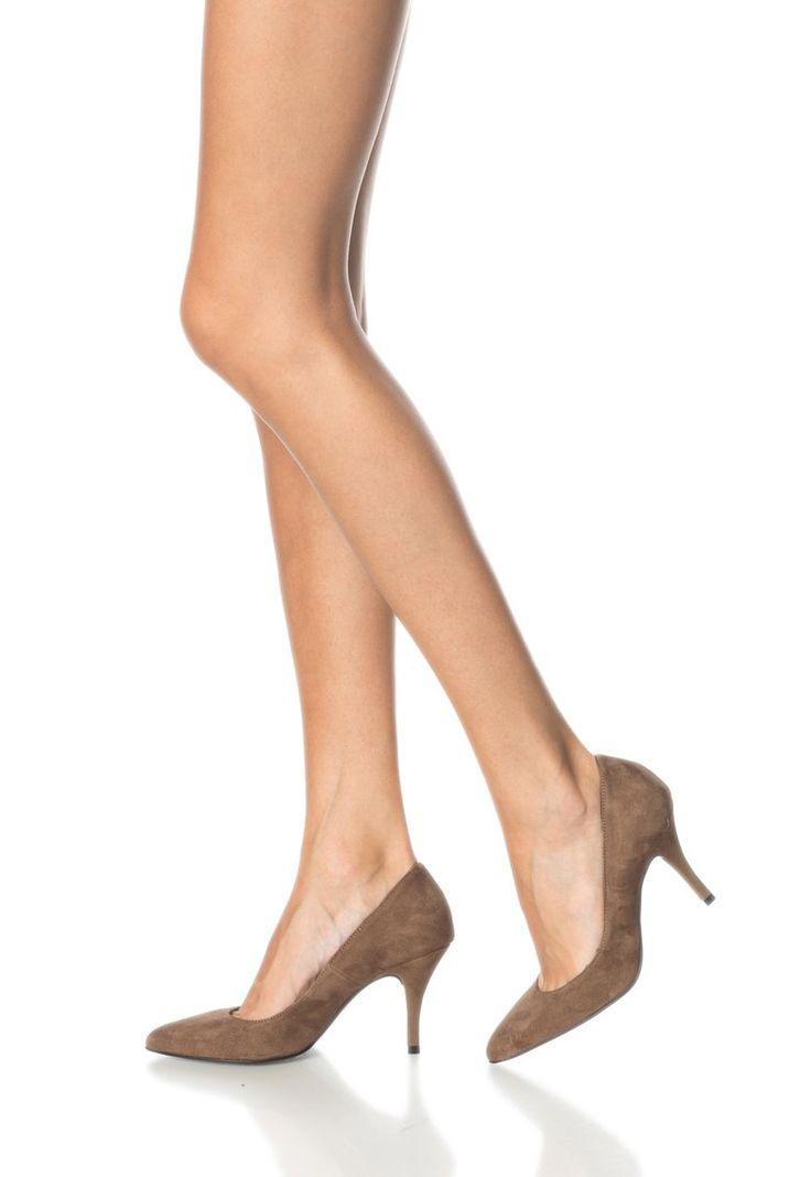 Cumpara acum Pantofi maro de piele intoarsa cu toc stiletto de la Zee Lane si…