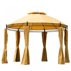 229 11 Round Outdoor Patio Canopy Party Gazebo W Curtains