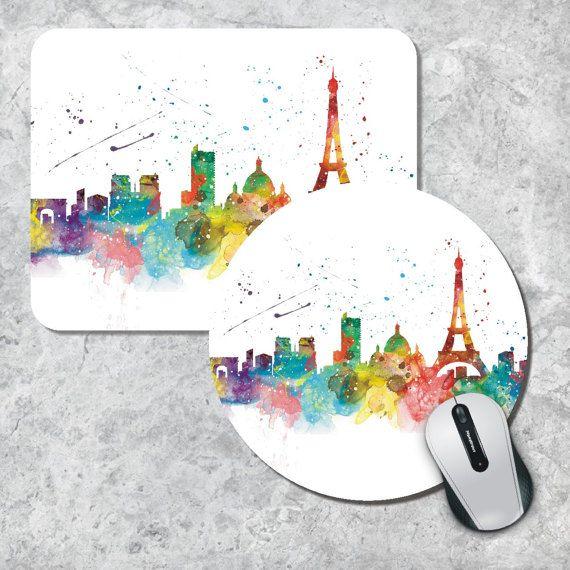 Tapis De Souris Paris Skyline Mouse Pad Tapis De Souris Aquarelle Paris France Tapis De Souris Rond Tapis De Souris Personnalise Tapis De Souris En Bois Paysage Urbain Tapis De Souris