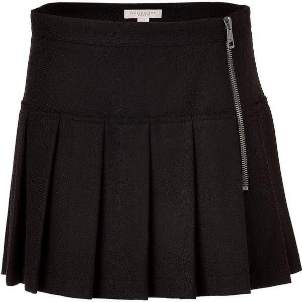 BURBERRY BRIT Black Kilt Mini Skirt ($335) ❤ liked on Polyvore