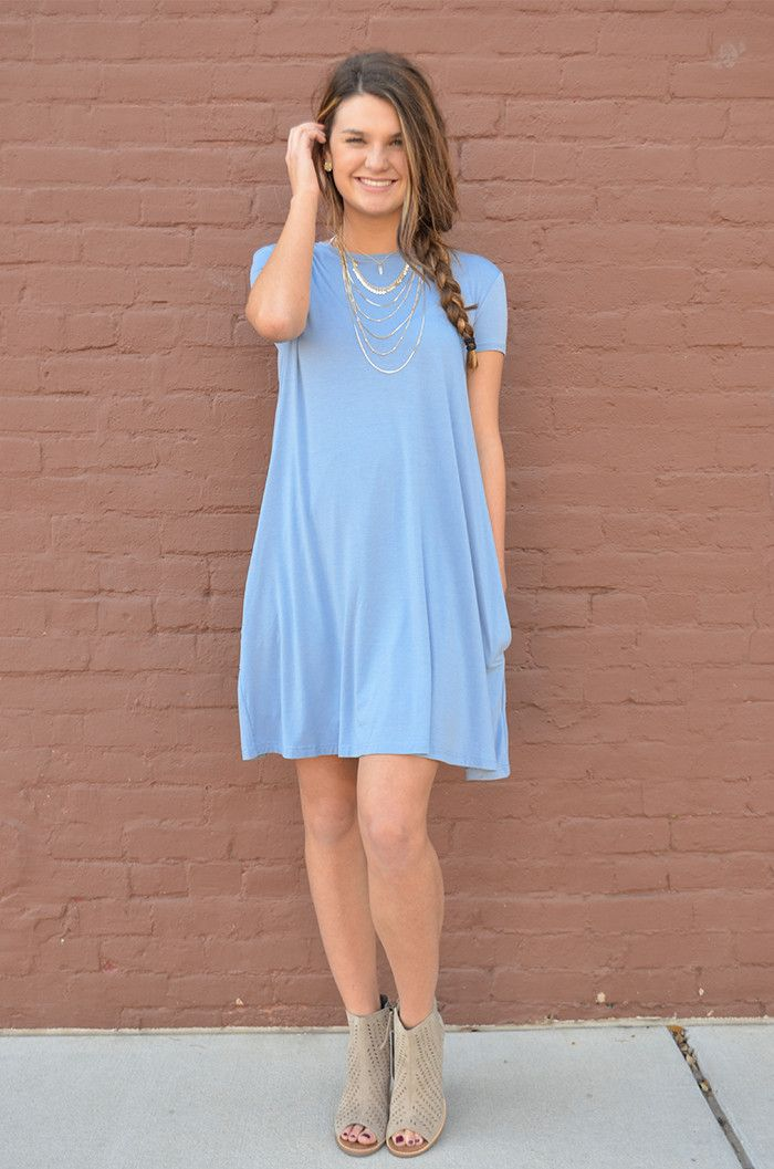PIKO Short Sleeve Trapeze Dress - Sky Blue
