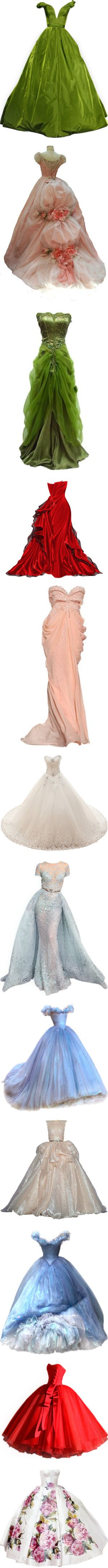 Gorgeous Princess Gowns! by renete on Polyvore featuring dresses, gowns, long dresses, vestidos, green dress, green gown, couture evening gowns, couture evening dresses, brown dress and green evening dress