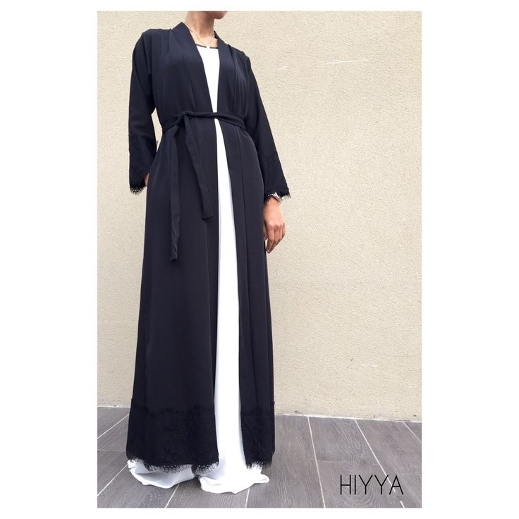 Perfect for everyone loving abaya kimono less loose more defined . Maxi Blazer look . Lace detail on arm sleeves and bottom of the kimono .  Can be wear as: Jacket Open abaya Kimono matching belt 2 pockets Perfect to pair with ourelegance dress Unique size Size guide ,can feet size 6 to 12height from 52-54-55 -56 for a Abaya look like or can feet up to 58 for a maxi blazer look like ( above ankles ) model is size 8 , 5'7 tall