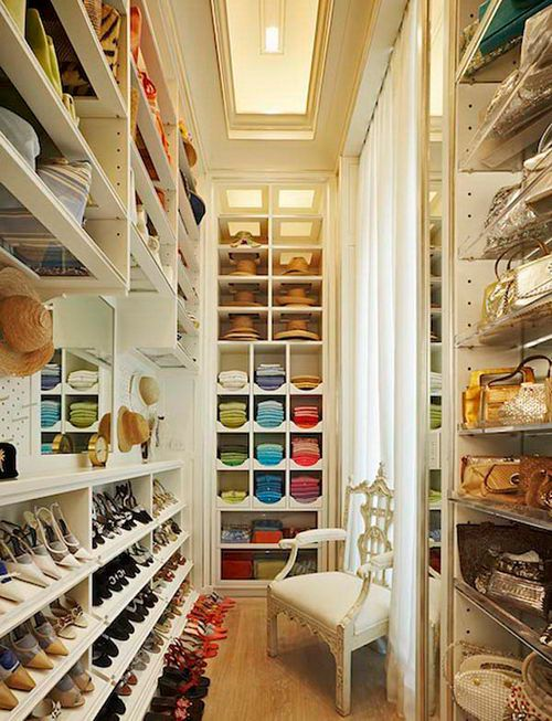 Color-coded walk-in closet.