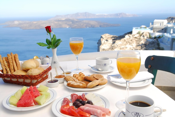 At the Caldera restaurant, you are also invited to enjoy the complimentary breakfast buffer which is open from 07:30 to 10:00 and proposes a large array of fresh delicacies.    http://www.volcano-view.com/santorini-caldera-restaurant.php