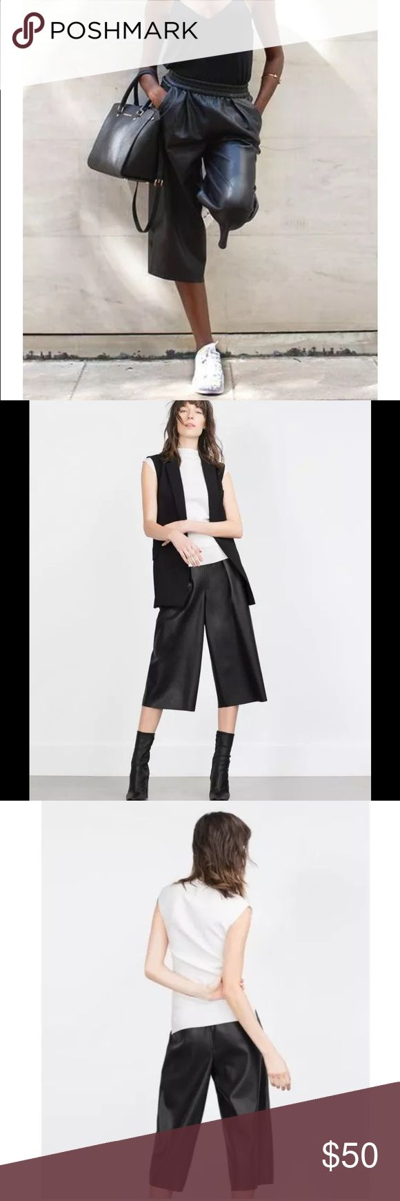 "ZARA Black Faux Leather Pants Culottes Crops NWOT ZARA BASIC Black Faux Leather Pants Culottes Gaucho Cropped Wide Leg Sz L  Description: Tag Size: L Inseam: 18"" Leg opening: 12.75"" Color/Wash: Black Faux Leather Elastic Stretch Waistband 2 Front Pockets   Condition: New Without Tags Zara Pants Capris"