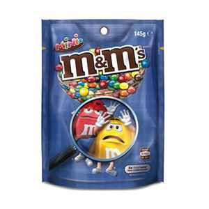 A bulk box of 12 M&Ms Minis bags.