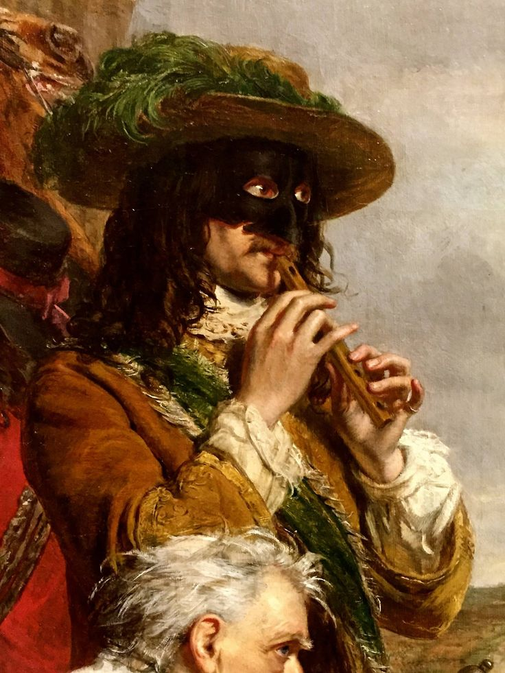 "Recorder-playing highwayman! This detail from the painting ""The highwayman Claude Duval"" by Will Powell Frith (1859) is one of the ways the artist expresses the disdain of the band of robbers for their wealthy victims in a fancy coach. (Manchester Art Gallery.)"
