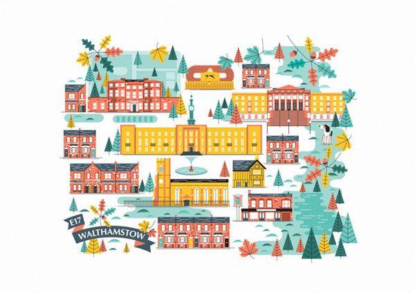 Walthamstow Illustration by John Devolle, via Behance