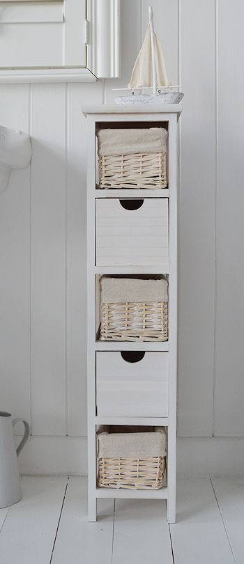 tall narrow 20 cm bathroom cabinet with baskets and drawers