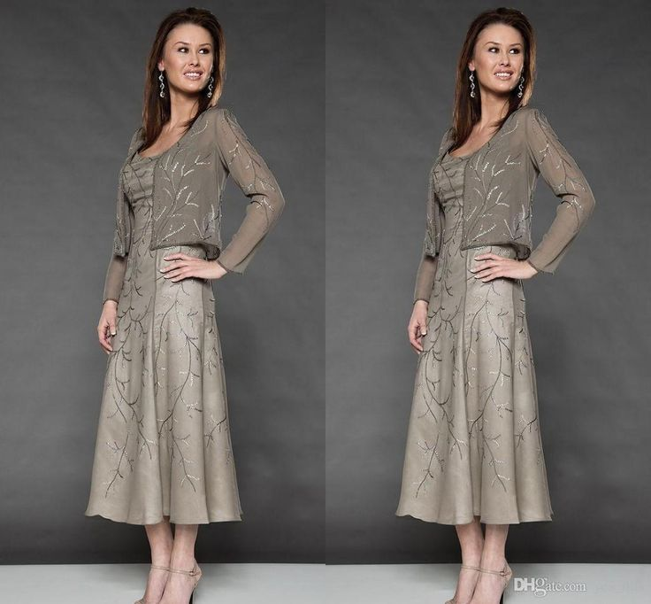 2016 Mother of the Bride Dresses Scoop Neck Long Sleeves Gray Chiffon Crystal Beaded Tea Length Plus Size Wedding Guest Dress With Jacket Online with $129.65/Piece on Yes_mrs's Store | DHgate.com