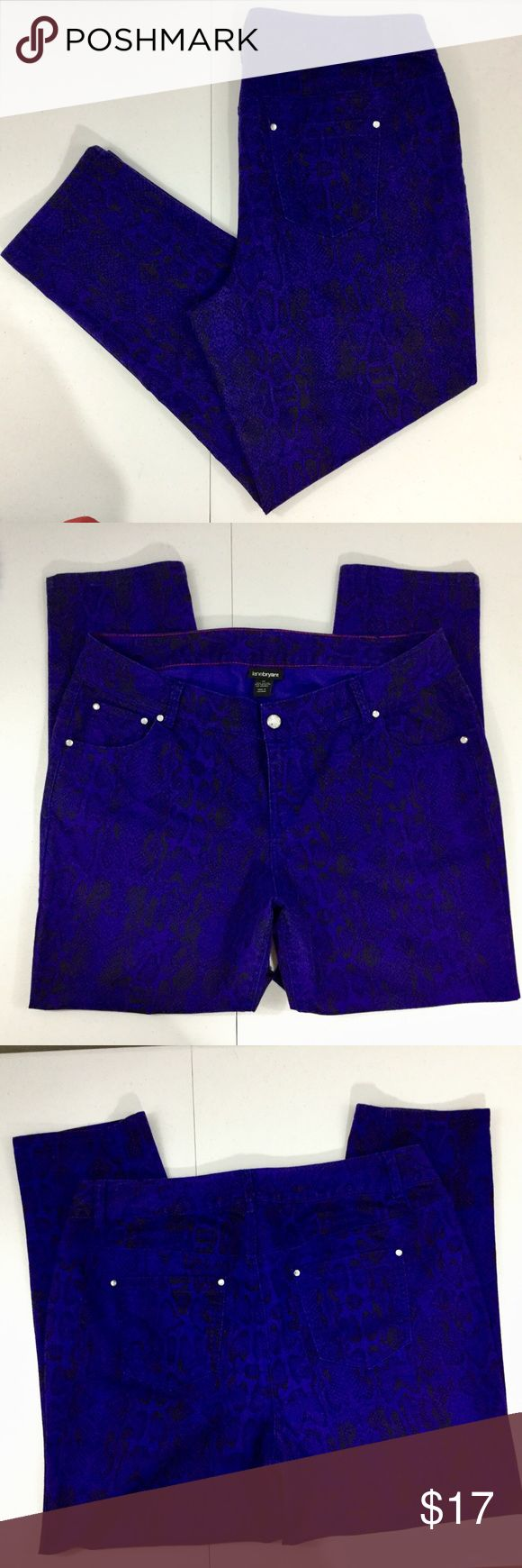 """Lane Bryant Women's Snake Print Jeans Purple Sz 20 Excellent used condition, no noted flaws. Women's size 20. Color purple with snake print. Classic 5-pocket design. Embellished crystal-like rivets and fly button. Zip fly. 64% cotton, 34% polyester, 2% spandex. Machine wash. Approx. laying flat measurements: waist 20"""", rise 11"""", inseam 30"""", bottom of legs 8"""" wide, length 42"""". Lane Bryant Jeans Straight Leg"""