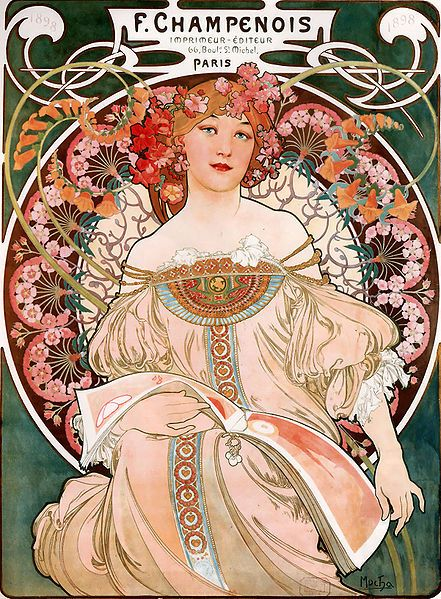 "in graphic design.  Demonstrates Art Nouveau's signature ""whiplash"" strokes"
