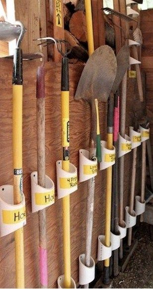 PVC pipe cutoffs to sort and store garden tools. Organize garage or