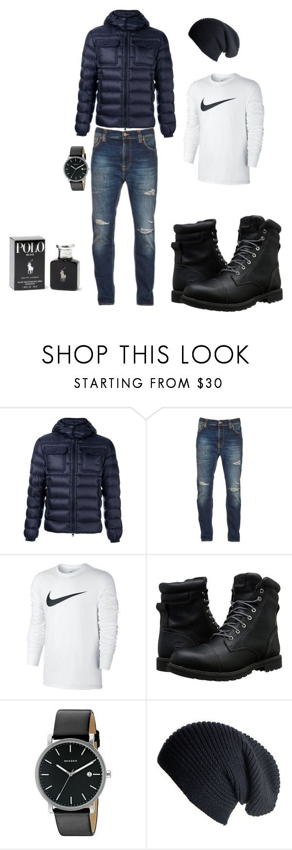 """men"" by merisa-imsirovic ❤ liked on Polyvore featuring Moncler, Nudie Jeans Co., NIKE, Timberland, Skagen, Black, Ralph Lauren, men's fashion and menswear"