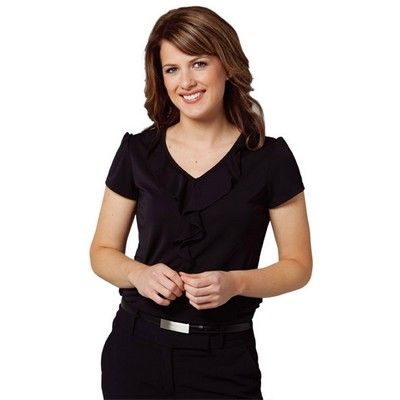 Womens Ruffled Black Blouse Min 25 - Clothing - Business Shirts - Her Business Wear - WS-M88201 - Best Value Promotional items including Promotional Merchandise, Printed T shirts, Promotional Mugs, Promotional Clothing and Corporate Gifts from PROMOSXCHAGE - Melbourne, Sydney, Brisbane - Call 1800 PROMOS (776 667)