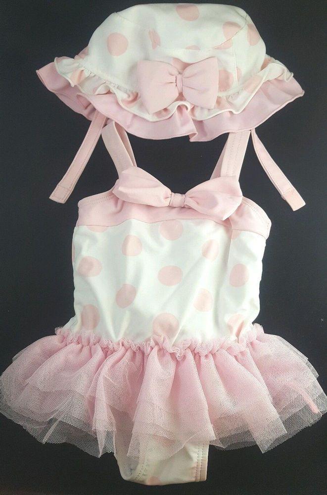 koala baby girls pink bow tutu bathing suit swimwear sun hat set outfit 3m 6mu2026