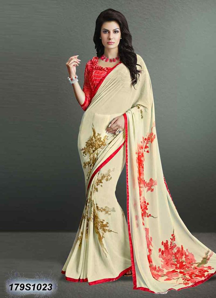 Delusively Cream and Red Coloured Georgette Casual saree