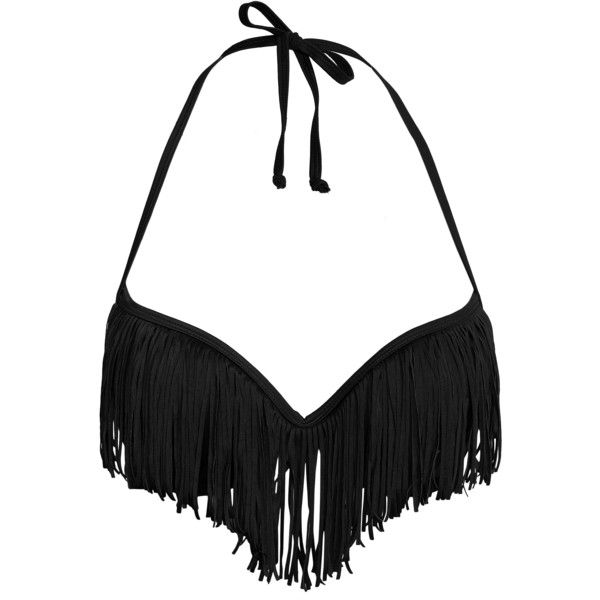 Nly Beach Fringed Push-Up Top ($23) ❤ liked on Polyvore featuring swimwear, bikinis, bikini tops, bikini, bathing suit, black, womens-fashion, black fringe bikini, push up bikini swimwear and push up bikini