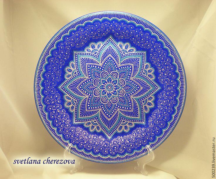 """Купить Декоративная тарелка """"Сумерки"""" - разноцветный, Тарелка декоративная, тарелка настенная, тарелка с росписью"""