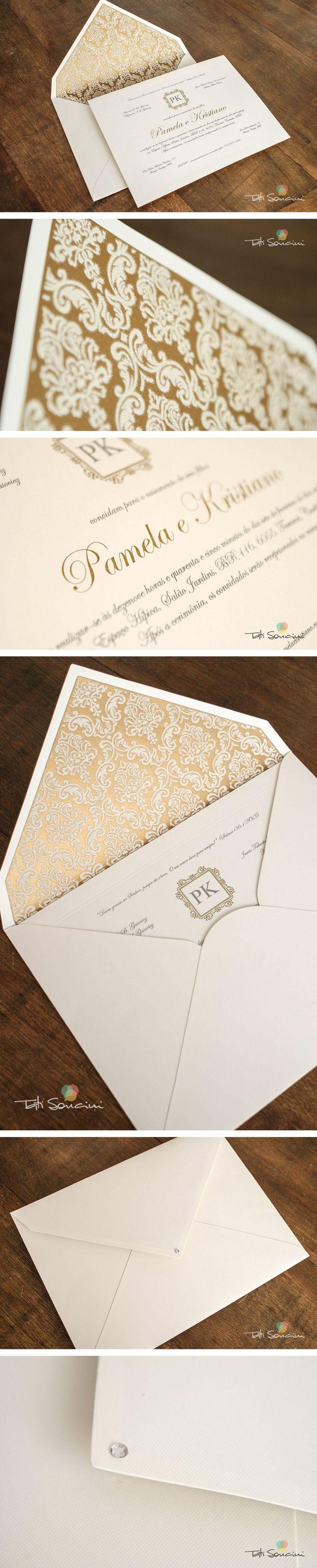Convite luxo para casamento. Acabamento aveludado, papel especial, impressão dourada e strass.