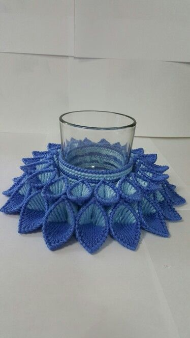 Plastic Canvas Blue Candle Holder.  Comes with coordinating candle. $30.  No candle $25. Colors can be customized.