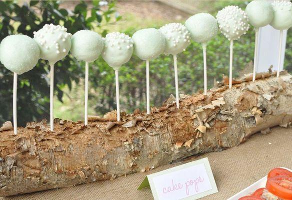 cake pops displayed on a log!