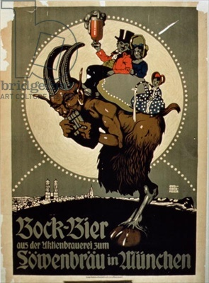Advertisement for 'Bock Beer from Lowenbrau Brewery, Munich' (colour litho)/ Private Collection, Barbara Singer